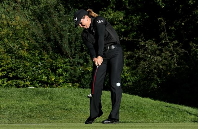 EDMONTON, AB - AUGUST 22: Lorie Kane of Canada hits her tee shot on the sixth hole during the CN Canadian Women's Open at Royal Mafair Golf Club on August 22, 2013 in Edmonton, Alberta, Canada. (Photo by Stephen Dunn/Getty Images)
