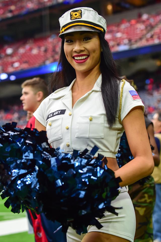 <p>The Houston Texans cheerleaders rev up the crowd in a salute to service during the football game between the Indianapolis Colts and the Houston Texans on November 5, 2017 at NRG Stadium in Houston, Texas. (Photo by Ken Murray/Icon Sportswire) </p>