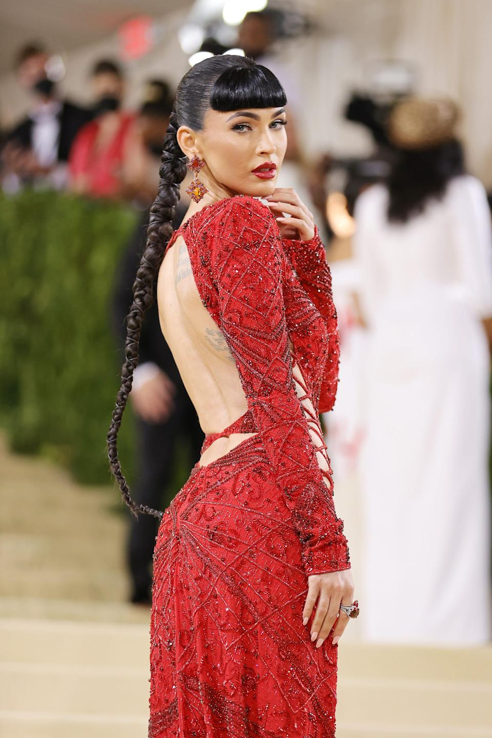 NEW YORK, NEW YORK - SEPTEMBER 13: Megan Fox attends The 2021 Met Gala Celebrating In America: A Lexicon Of Fashion at Metropolitan Museum of Art on September 13, 2021 in New York City. (Photo by Mike Coppola/Getty Images) ORG XMIT: 775705347 ORIG FILE ID: 1340139716