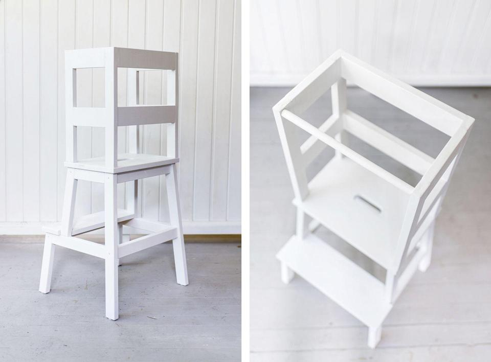 """<p>But when you add a few extra pieces of wood like Sina of Happy Grey Lucky, you get a brilliant (and very sophisticated looking) new contraption. This toddler learning tower allows children to safely step up to the counter without having to worry about them falling.</p><p>See more at <a href=""""http://happygreylucky.com/ikea-hack-toddler-learning-tower-stool/"""" rel=""""nofollow noopener"""" target=""""_blank"""" data-ylk=""""slk:Happy Grey Lucky"""" class=""""link rapid-noclick-resp"""">Happy Grey Lucky</a>.</p><p><a class=""""link rapid-noclick-resp"""" href=""""https://www.amazon.com/Bessey-Tools-WS-3-2K-Degree-Angle/dp/B00V37PLGC/?tag=syn-yahoo-20&ascsubtag=%5Bartid%7C2089.g.29514474%5Bsrc%7Cyahoo-us"""" rel=""""nofollow noopener"""" target=""""_blank"""" data-ylk=""""slk:BUY NOW"""">BUY NOW</a> <strong><em>Wood Clamp, amazon.com</em></strong></p>"""