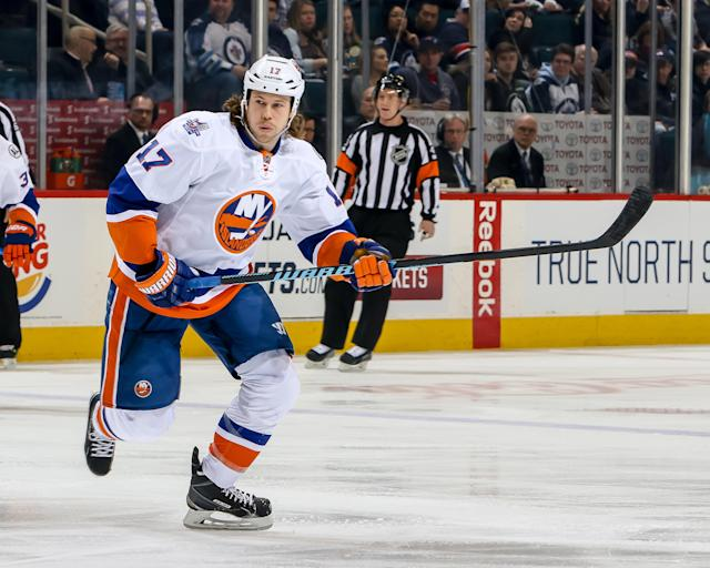 Matt Martin returns to the Islanders after being acquired in a trade with the Toronto. (Getty)