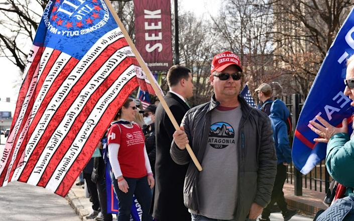 Trump supporters outside state buildings in Atlanta, Georgia, on Wednesday - GETTY IMAGES