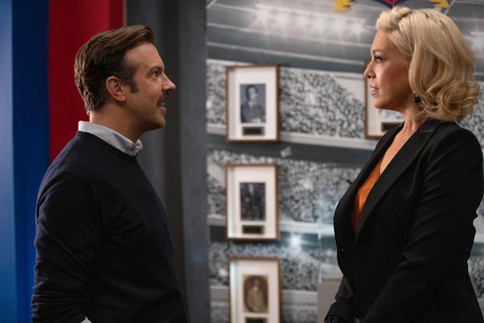 """Jason Sudeikis and Hannah Waddingham in """"Ted Lasso,"""" premiering globally on Friday, August 14, on Apple TV+."""