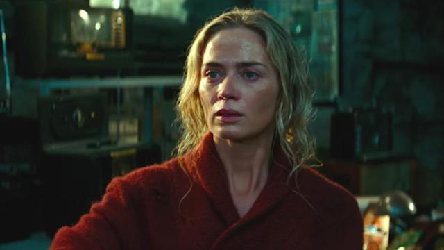 Emily Blunt won awards for her performance in the horror movie 'A Quiet Place', directed by her husband John Krasinski. (Credit: Paramount)