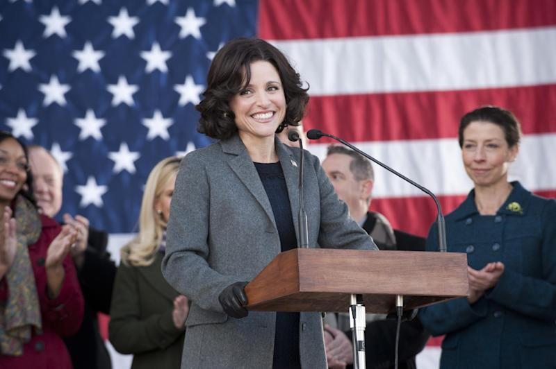 "This publicity image released by HBO shows Julia Louis-Dreyfus in the comedy series ""Veep."" Louis-Dreyfus was nominated for a Golden Globe for best actress in a comedy series for her role in ""Veep"" on Thursday, Dec. 12, 2013. The 71st annual Golden Globes will air on Sunday, Jan. 12. (AP Photo/HBO, Lacey Terrell)"