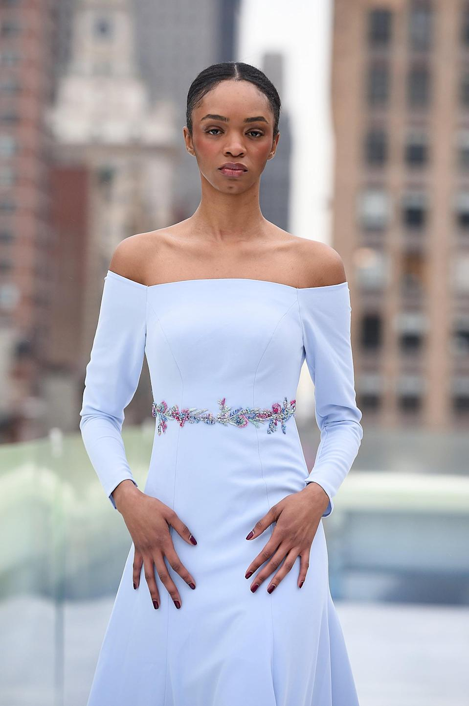 <p>We saw a few statement manicures, such as this dark red nail polish moment, on the Flying Solo runway.</p>