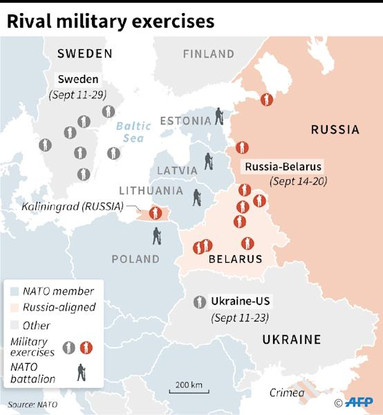 Map of eastern Europe locating three distinct sets of military exercises along with countries that host NATO battalions. (AFP Photo/Jonathan JACOBSEN)