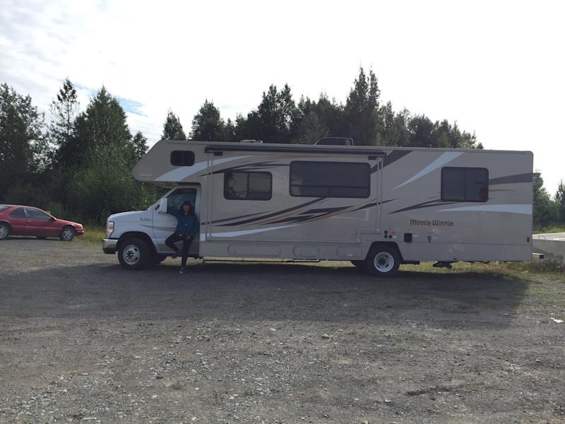 The author and the 33-foot RV she drove through Alaska. (Courtesy of Ann Brenoff)