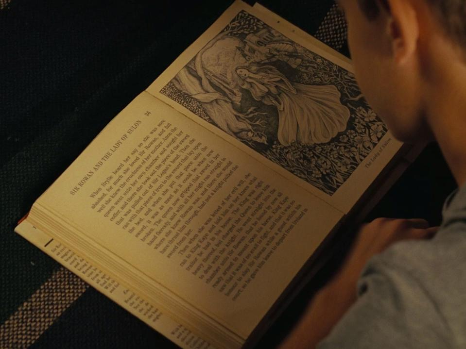 "William reading ""Sir Rowan and the Lady of Sulon"" in season three, episode six, ""Decoherence."""