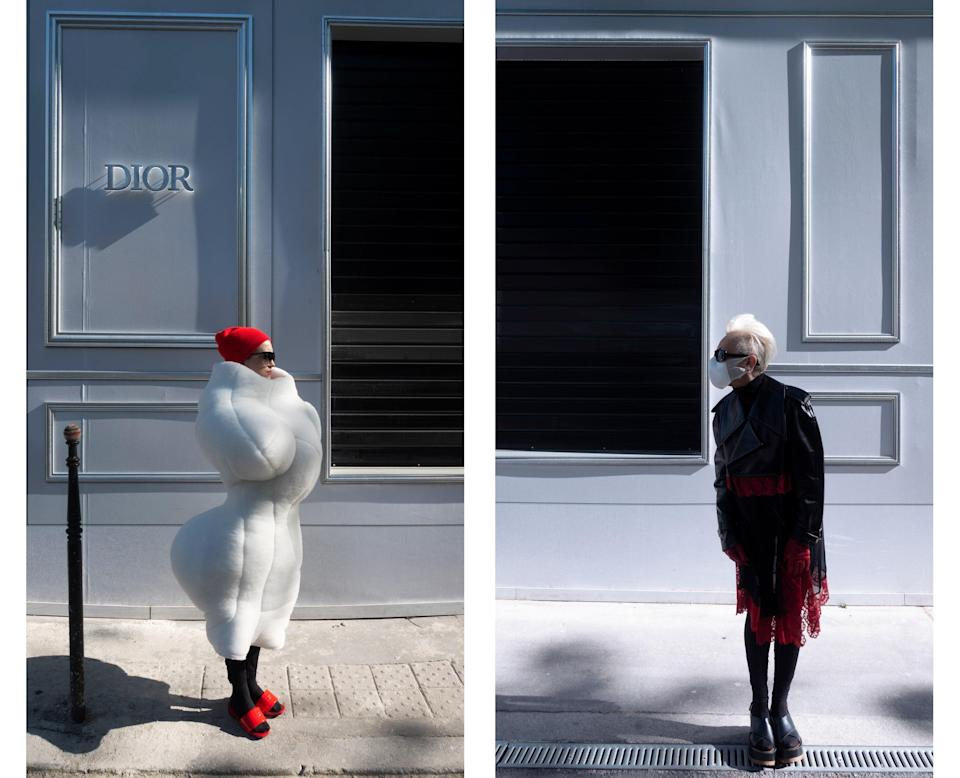 "<div class=""caption""> Both wear Comme des Garçons in front of the Dior store. </div>"