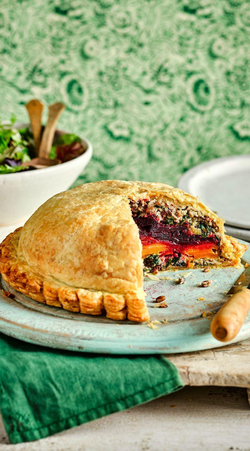 "<p>This wow-factor, vegan pie centrepiece is utterly delicious and worth the extra effort.</p><p><strong>Recipe:<a href=""https://www.goodhousekeeping.com/uk/food/recipes/a25933799/vegan-vegetable-pie/"" rel=""nofollow noopener"" target=""_blank"" data-ylk=""slk:Root Vegetable Pithivier"" class=""link rapid-noclick-resp""> Root Vegetable Pithivier</a></strong></p>"