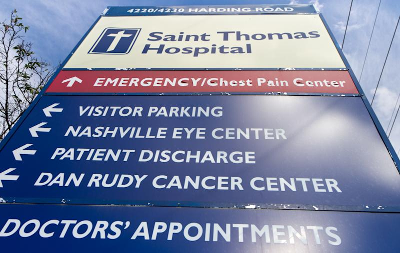 A sign marks an entrance to Saint Thomas Hospital medical campus in Nashville, Tenn., on Wednesday, Oct. 3, 2012. An outbreak of a rare and deadly form of meningitis that has sickened more than two dozen people was first detected among patients treated at the Saint Thomas Outpatient Neurosurgery Center in the complex. (AP Photo/Erik Schelzig)
