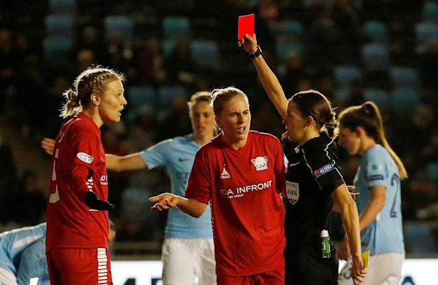 Soccer Football - Women's Champions League Quarter Final First Leg - Manchester City vs Linkoping - Academy Stadium, Manchester, Britain - March 21, 2018 Linkoping's Lisa Lantz (L) receives a red card after conceding a penalty Action Images via Reuters/Craig Brough