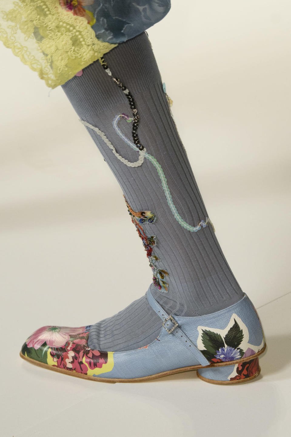 <p><i>Floral-print Mary Jane flats from the SS18 Preen collection. (Photo: ImaxTree) </i></p>