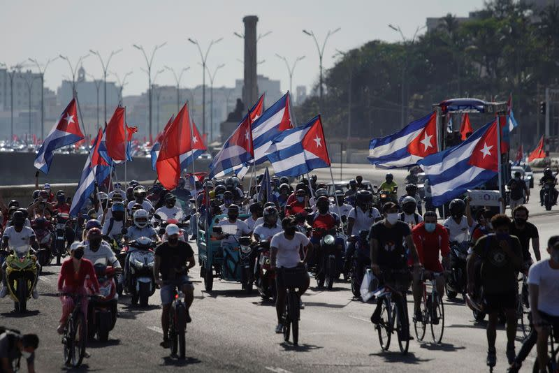 Protest against the trade embargo on Cuba by the U.S. in Havana, Cuba