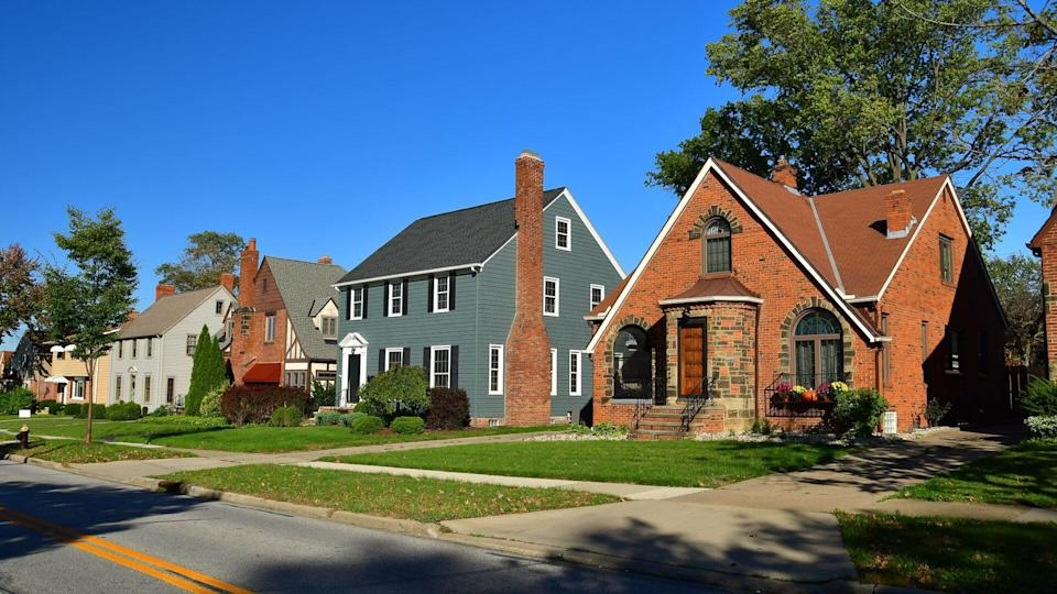 Row of houses in the suburb of Lakewood in the Cleveland Metropolitan Area.