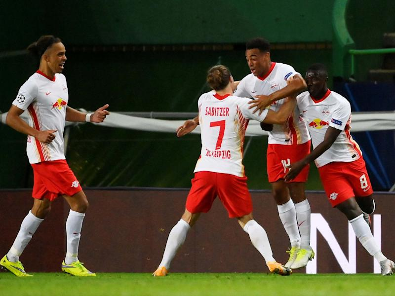 Leipzig celebrate the winner scored by Tyler Adams: Reuters
