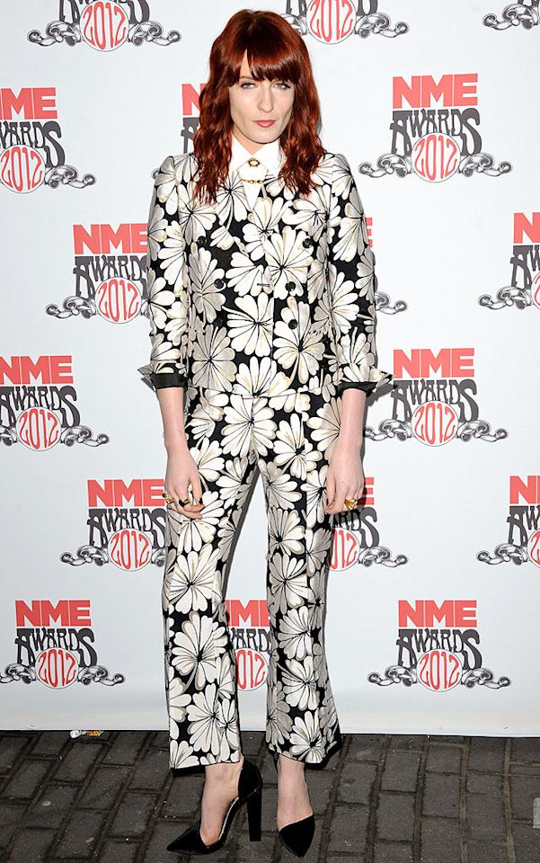 Florals are tough to pull off even when confined to one article of clothing in one's ensemble. A full-on floral? Now, that's just nuts. But Florence Welch (of Florence and the Machine fame) was willing to go there, so we'll give her props. Her Moschino suit, however, should be burned. Immediately.