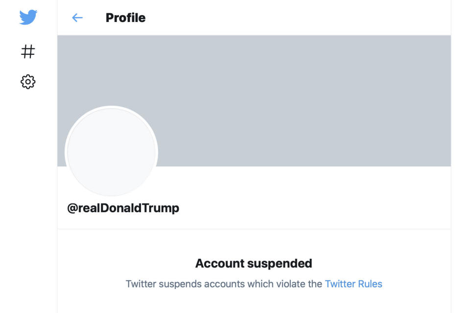 """This Friday, Jan. 8, 2021 image shows the suspended Twitter account of President Donald Trump. On Friday, the social media company permanently suspended Trump from its platform, citing """"risk of further incitement of violence."""" (AP Photo)"""