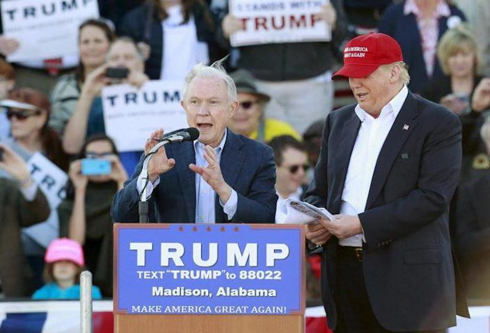 Sen. Jeff Sessions speaks next to Donald Trump at a February rally in Madison, Alab. (Photo: Marvin Gentry/Reuters)