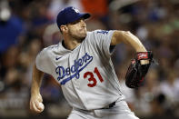 Los Angeles Dodgers pitcher Max Scherzer delivers during the second inning of a baseball game against the New York Mets on Sunday, Aug. 15, 2021, in New York. (AP Photo/Adam Hunger)