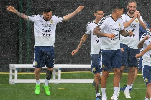 Training in the rain has been the least of Argentina's concerns in a turbulent World Cup build-up
