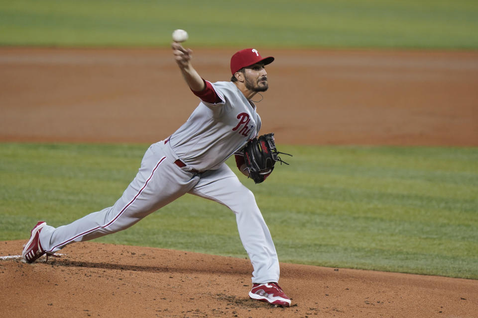 Philadelphia Phillies' Zach Eflin pitches during the first inning of a baseball game against the Miami Marlins, Monday, May 24, 2021, in Miami. (AP Photo/Wilfredo Lee)