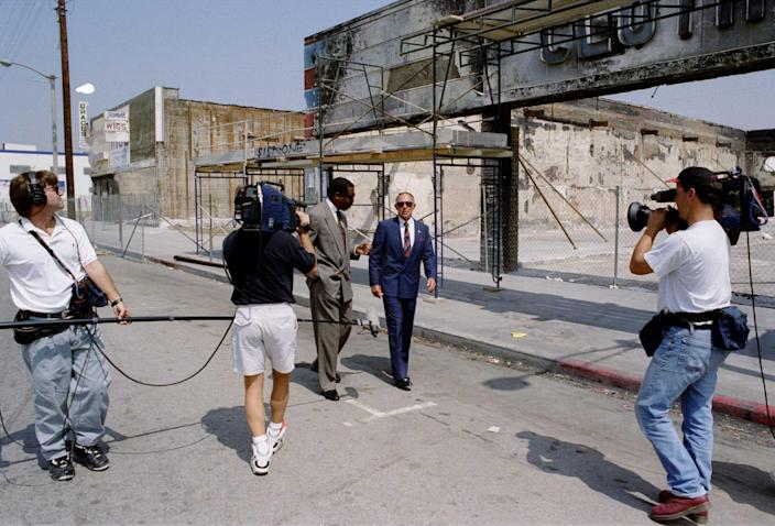 """Daryl Gates, the former police chief, during an interview with a television station close to the scene where the riots began.<span class=""""copyright"""">Paul Harris—Getty Images</span>"""
