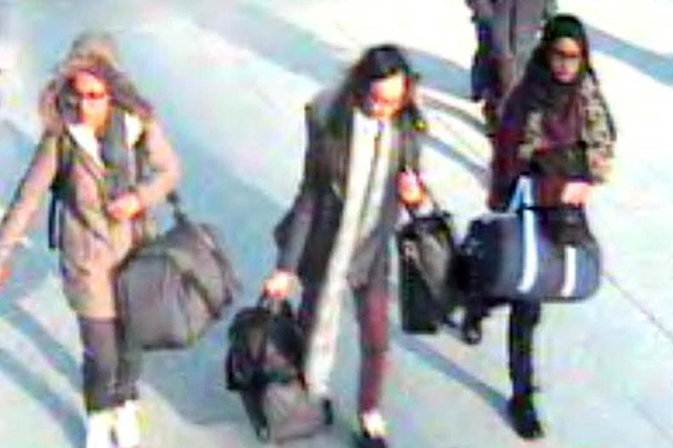 IS brides: Shamima Begum, right, and friends Amira Abase, far left, and Kadiza Sultana caught on CCTV at Gatwick as they left Britain for Syria in February 2015: PA
