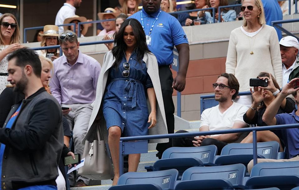 Meghan Markle, Duchess of Sussex  arrives to watch Serena Williams of the US against Bianca Andreescu of Canada during the Women's Singles Finals match at the 2019 US Open at the USTA Billie Jean King National Tennis Center in New York on September 7, 2019. (Photo by TIMOTHY A. CLARY / AFP)        (Photo credit should read TIMOTHY A. CLARY/AFP via Getty Images)