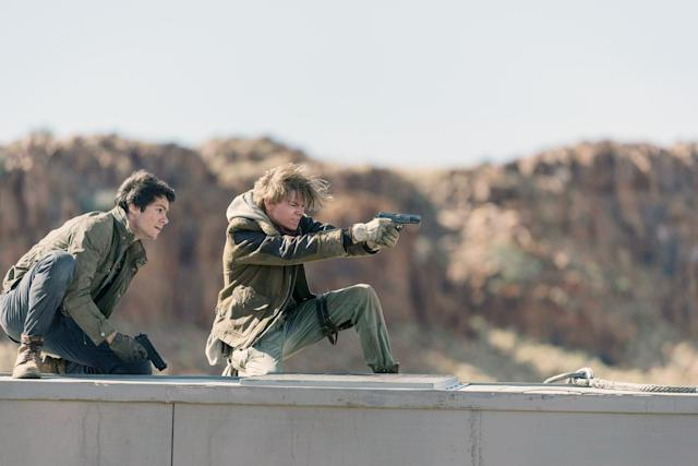 Dylan O'Brien and Thomas Brodie-Sangster in <em>Maze Runner: The Death Cure</em> (Photo: Joe Alblas/20th Century Fox Film Corp/Courtesy of Everett Collection)