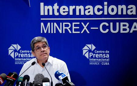 Cuba's Foreign Ministry's director of U.S. affairs Carlos Fernandez de Cossio speaks during a news conference in Havana