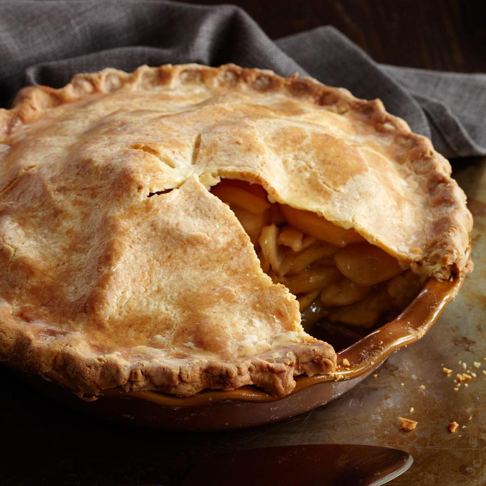 """<p>The salty cheddar cheese is the perfect complement to the sweet apple filling in this stalwart dessert. Make sure to use sharp cheese and golden delicious apples. <a href=""""http://www.foodandwine.com/recipes/deep-dish-apple-pie-with-a-cheddar-crust"""" rel=""""nofollow noopener"""" target=""""_blank"""" data-ylk=""""slk:Get the recipe for Food & Wine's Deep Dish Apple Pie With a Cheddar Crust here."""" class=""""link rapid-noclick-resp""""><b>Get the recipe for Food & Wine's Deep Dish Apple Pie With a Cheddar Crust here</b>.</a> (<i>Photo: Lucy Schaeffer)</i></p>"""
