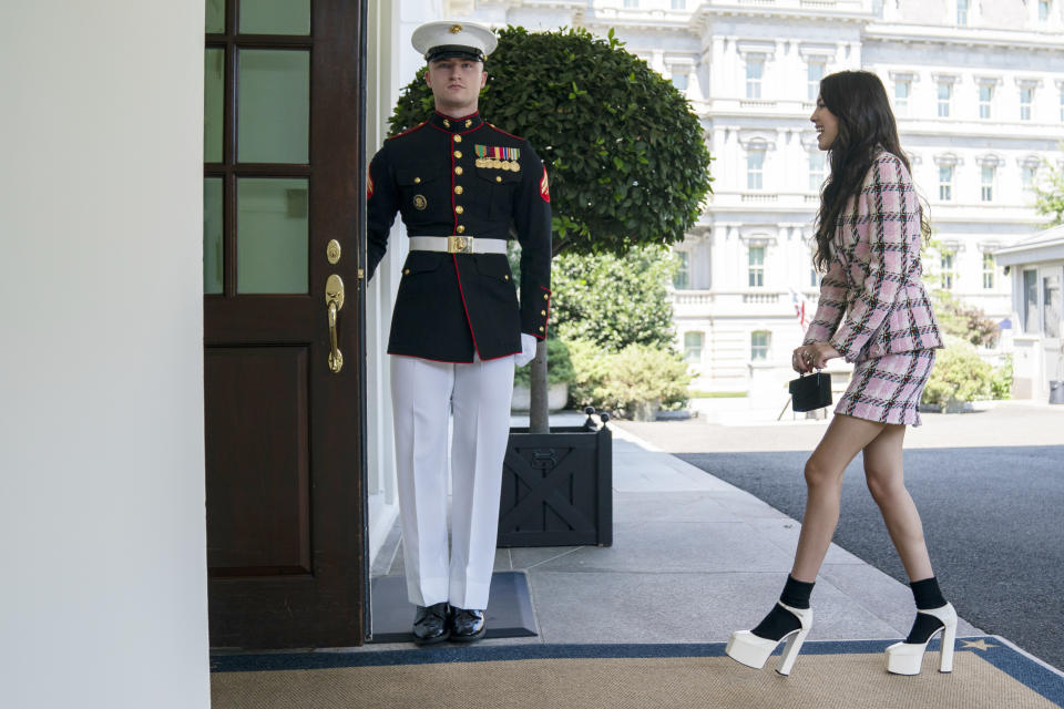 The singer Olivia Rodrigo arrives at the White House to promote the COVID-19 vaccine on July 14.