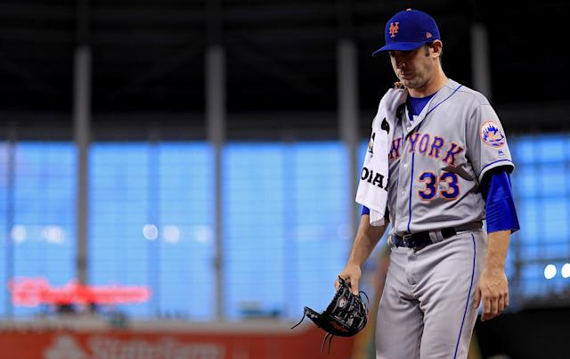 Matt Harvey looks on during a game against the Marlins on Sept. 18, 2017, in Miami, Florida. (Getty Images)