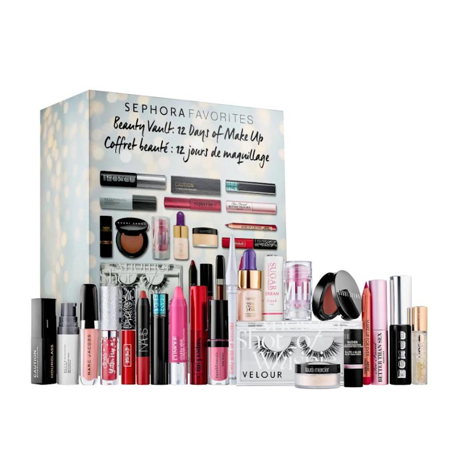 """<p>Gift the budding makeup artist or beauty enthusiast in your life this larger-than-life 22-piece set curated especially for the holidays. From false lashes to a full-sized brow pencil, the recipient can explore just about every beauty trend of the year.<br><strong><a rel=""""nofollow noopener"""" href=""""https://fave.co/2Q4aReB"""" target=""""_blank"""" data-ylk=""""slk:Shop it"""" class=""""link rapid-noclick-resp"""">Shop it</a>:</strong> $90,<a rel=""""nofollow noopener"""" href=""""https://fave.co/2Q4aReB"""" target=""""_blank"""" data-ylk=""""slk:sephora.com"""" class=""""link rapid-noclick-resp""""> sephora.com</a> </p>"""