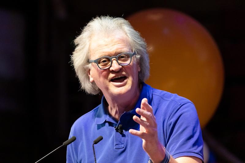 Tim Martin, founder and chairman of Wetherspoon speaking at a Brexit:Lets Go WTO Rally organised by the Leave Means Leave campaign in Westminster, London, UK on January 17, 2019 where leading business and political Brexiteers discussed why WTO rules will allow Great Britain to thrive outside the European Union after Brexit. (photo by Vickie Flores/In Pictures via Getty Images Images)