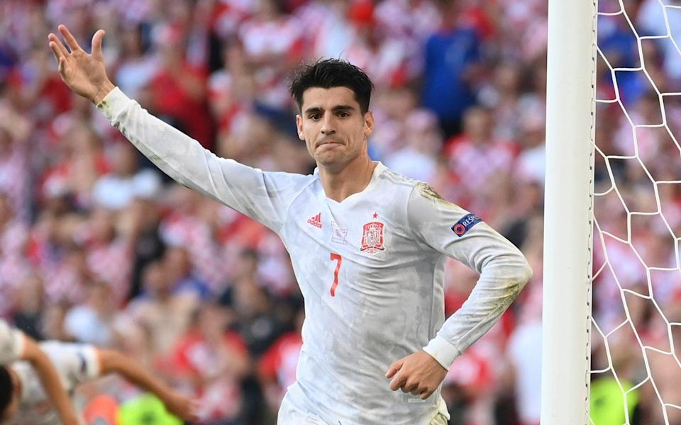 Spain's Alvaro Morata celebrates after scoring his side's fourth goal during the Euro 2020 soccer championship round of 16 match between Croatia and Spain at the Parken Stadium in Copenhagen - POOL GETTY