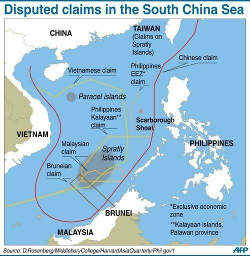 Graphic on disputed boundaries in the South China Sea. The Philippines said it remained locked in a stalemate with China over a disputed shoal in the South China Sea