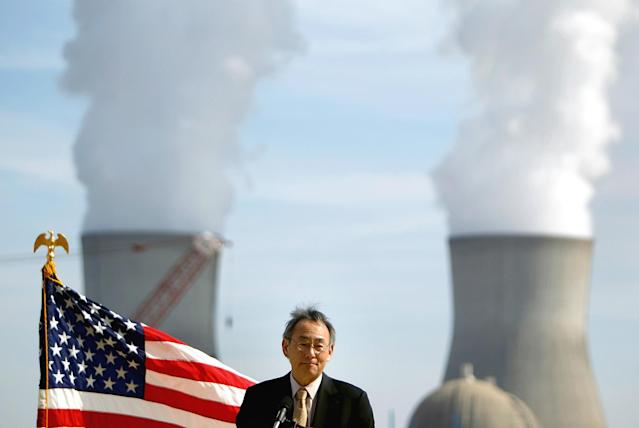 <p>U.S. Secretary of Energy Secretary Steven Chu speaks during a visit to the Vogtle nuclear power plant, Feb. 15, 2012, in Waynesboro, Ga. (AP Photo/David Goldman) </p>