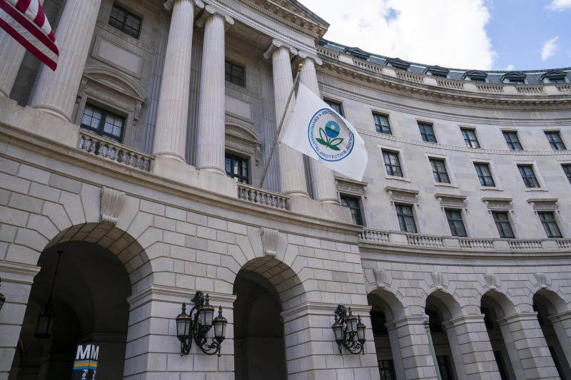 The headquarters of the Environmental Protection Agency in Washington as President Donald Trump announces that his administration is revoking California's authority to set auto mileage standards stricter than those issued by federal regulators, Wednesday, Sept. 18, 2019. Critics say the move would result in less fuel efficient cars that create more planet-warming pollution. (AP Photo/J. Scott Applewhite)