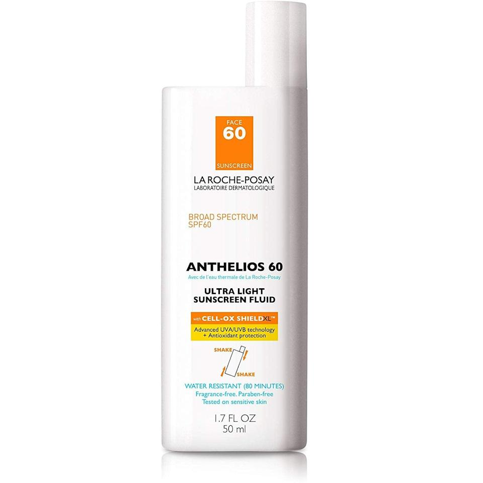 <p>This light <span>La Roche-Posay Anthelios Ultra Light Sunscreen Fluid SPF 60</span> ($26, originally $30) really works. This editor has been using it since childhood, and it's great for sensitive skin; it doesn't feel heavy on the face.</p>