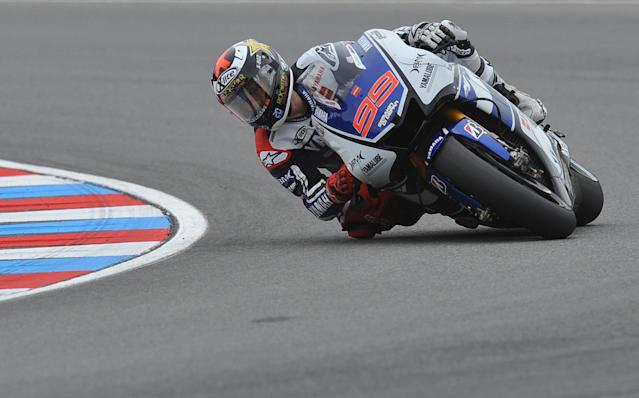 Moto GP rider Jorge Lorenzo of Spain rides his Yamaha during the free practice session ahead of tomorrow's Czech Republic MotoGP category on August 25, 2012 in Brno. AFP PHOTO/ MICHAL CIZEKMICHAL CIZEK/AFP/GettyImages