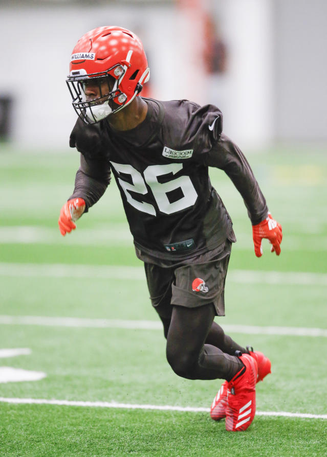 Cleveland Browns' Greedy Williams runs through a drill during an NFL football rookie minicamp Friday, May 3, 2019, in Berea, Ohio. (AP Photo/Ron Schwane)