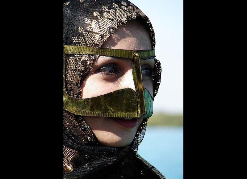 The Batula is a face covering generally worn by older women in the Gulf region. This is a style that is slowly being depleted and not carried forward by younger generations.