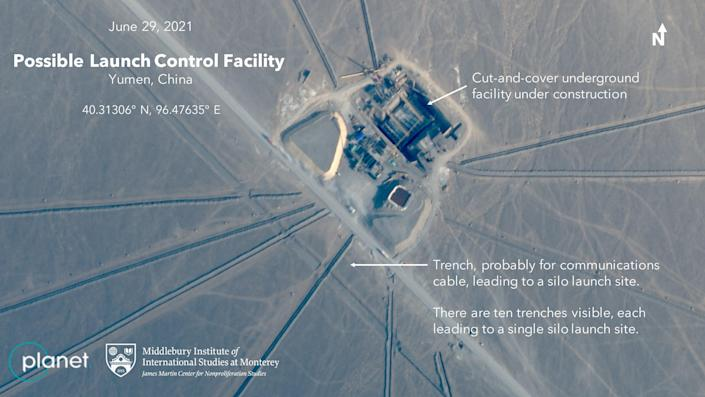 Possible ICBM launch control center under construction in China