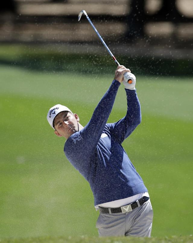Matt Every hits from a sand trap on the ninth fairway during the first round of the Valspar Championship golf tournament Thursday, March 13, 2014, in Palm Harbor, Fla. (AP Photo/Chris O'Meara)