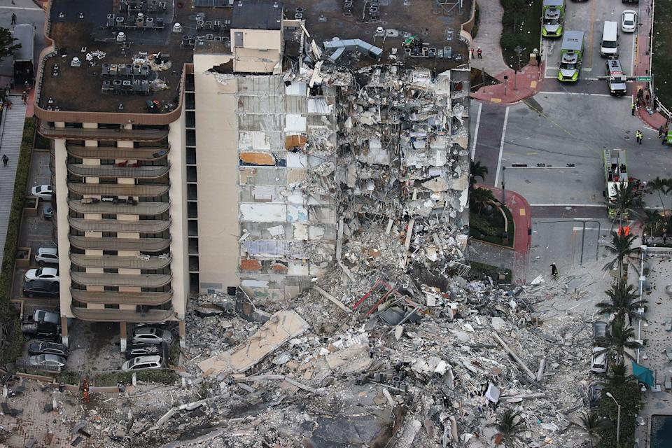 Search and Rescue personnel work after the partial collapse of the 12-story Champlain Towers South condo building on June 24, 2021 in Surfside, Florida. (Getty Images)