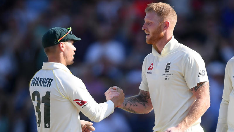 David Warner shakes hands with Ben Stokes at the of the day during the Ashes.