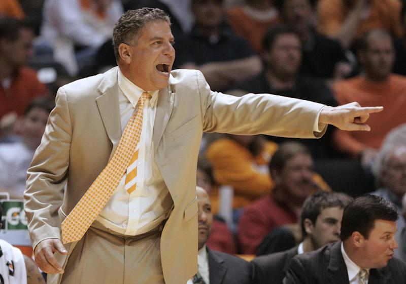 FILE - In this Nov. 13, 2009, file photo, Tennessee coach Bruce Pearl yells to his team during the second half of Tennessee's basketball game against Austin Peay in Knoxville, Tenn. A three-year, show-cause order from the NCAA in August 2011 for lying to NCAA investigators about improperly hosting recruits at his home didn't keep Pearl from joining ESPN as a college basketball analyst little more than a year later. That was after a stint at Sirius Radio. (AP Photo/Wade Payne, File)